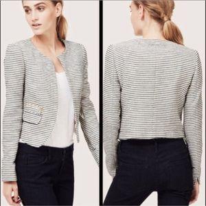 LOFT Tweed Cropped Striped Blazer Size 0